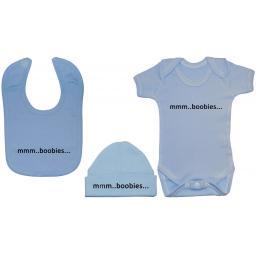 mmm...Boobies Baby Grow/Bodysuit/Romper Feeding Bib & Hat