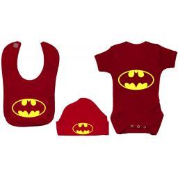 Bat Baby Grow Bodysuit, Romper Feeding Bib & Hat Batman