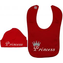 Princess Baby Nursery Feeding Bib & Beanie Hat, Cap