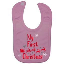 My First Christmas with Sleigh Baby Feeding Bib