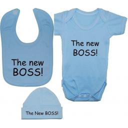 New Boss Baby Bodysuit Romper Feeding Bib & Hat