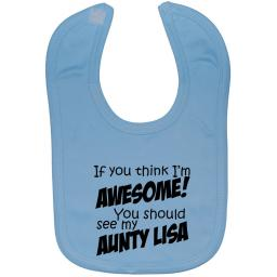 Awesome Aunty Personalised With Name Baby Feeding Bib
