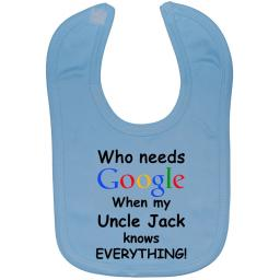 Google Personalised Uncle Name Baby Feeding Bib Newborn-3yrs
