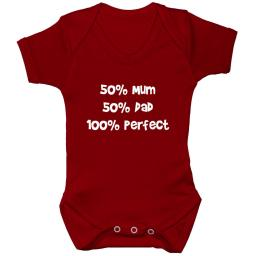 50% Mum 50% Dad 100% Perfect Baby Grow, Bodysuit, Romper