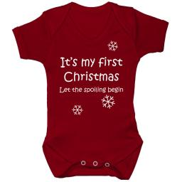 My First Christmas Baby Grow Bodysuit Romper Vest