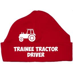Trainee Tractor Driver Baby Beanie Hat, Cap 0-12m