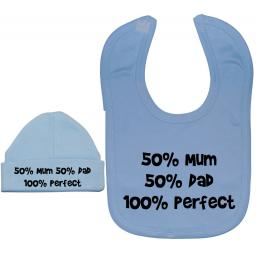 50% Mum 50% Dad 100% Perfect Baby Feeding Bib & Hat Set