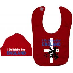 I Dribble For England Baby Feeding Bib & Hat Set
