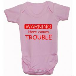 Warning Here Comes Trouble Baby Grow, Bodysuit, T-Shirt