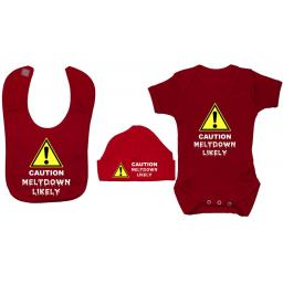 Caution Meltdown Likely Baby Grow, Bodysuit & Bib & Hat