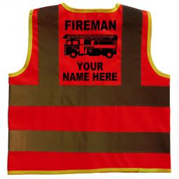 Fireman Personalised With Name Hi Visibility Children's Kids Safety Jacket