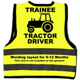 Trainee Tractor Driver Hi Visibility Children's Kids Safety Jacket