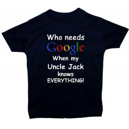 Google Personalised Uncle Name Baby, Children T-Shirt, Tops