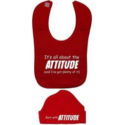 It's All About The Attitude Baby Feeding Bib & Hat Set