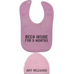 Been Inside For 9 Months Baby Feeding Bib & Beanie Hat
