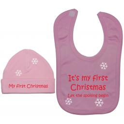 My First Christmas Baby Feeding Bib & Beanie Hat Xmas