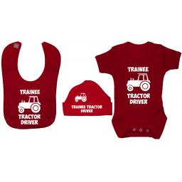Trainee Tractor Driver Baby Grow, Bodysuit & Bib & Hat