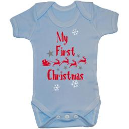 My First Christmas with Sleigh Babygrow Bodysuit Romper Vest