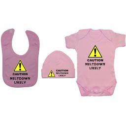 Caution Meltdown Likely Baby Grow, Bodysuit & Bib & Hat