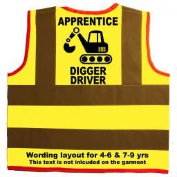 Apprentice Digger Driver Hi Visibility Children's Kids Safety Jacket
