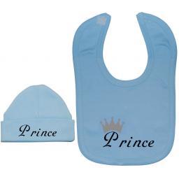 Prince...Baby Nursery Feeding Bib & Beanie Hat, Cap