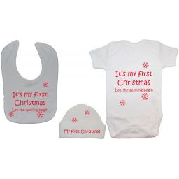My First Christmas Baby Grow, Bodysuit, Bib & Hat Xmas