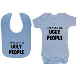 Cry for Ugly People Baby Grow, Bodysuit, Romper & Feeding Bib