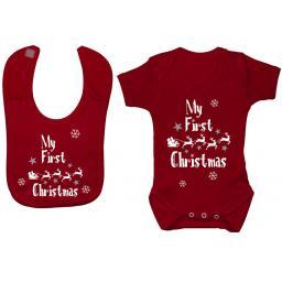 My First Christmas with Sleigh Baby Grow, Bodysuit & Feeding Bib