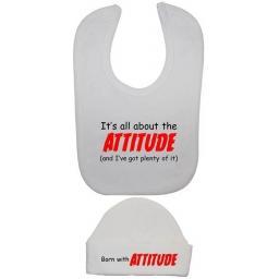 It's All About The Attitude Baby Feeding Bib & Hat Set