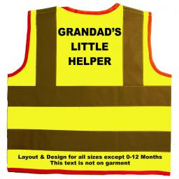 Grandad's Little Helper Hi Visibility Children's Kids Safety Jacket
