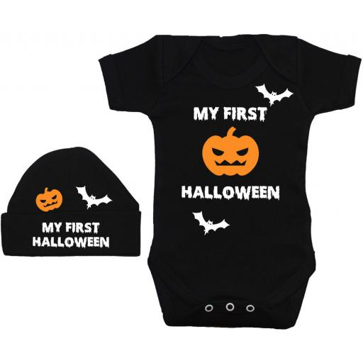 My First Halloween Baby Grow, Romper & Beanie Hat