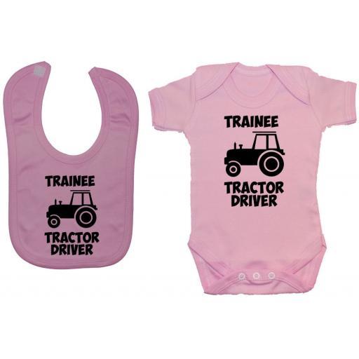 Trainee Tractor Driver Baby Grow, Romper & Feeding Bib