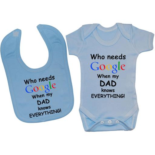 Who Needs Google When My Dad...Baby Bodysuit & Bib