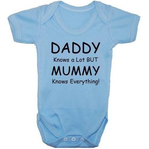 Daddy Knows A Lot But Mummy...Baby Grow, Bodysuit