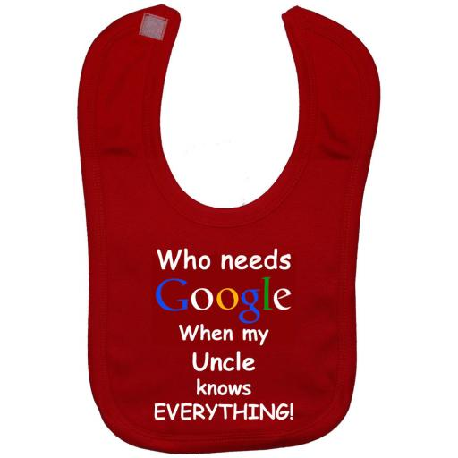 Who Needs Google When My Uncle Knows Everything Baby Feeding Bibs