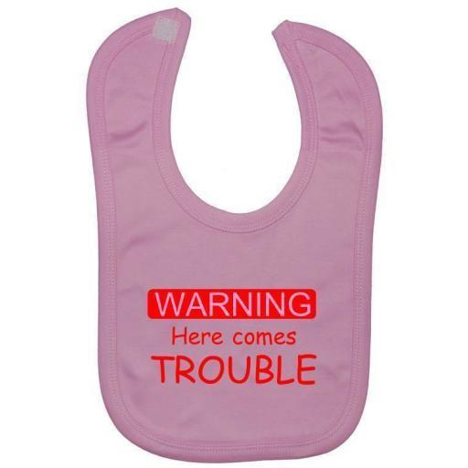 Here Comes Trouble Baby Feeding Bib Newborn-3 Years