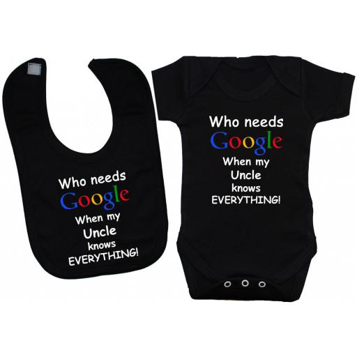 Who Needs Google When My Uncle...Baby Bodysuit & Bib