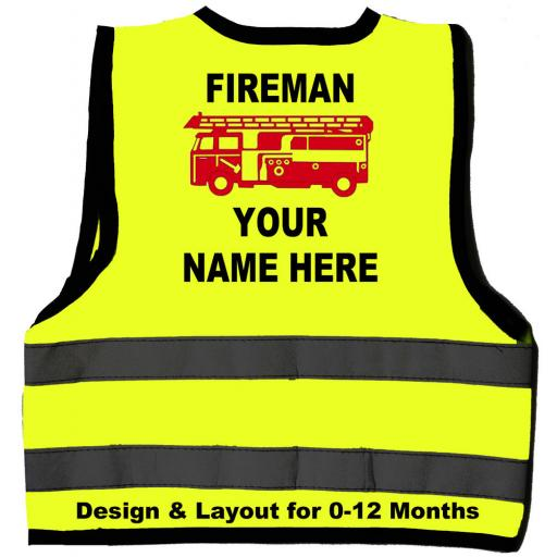 Fireman Personalised Red Engine Baby Childrens Hi Vis Safety