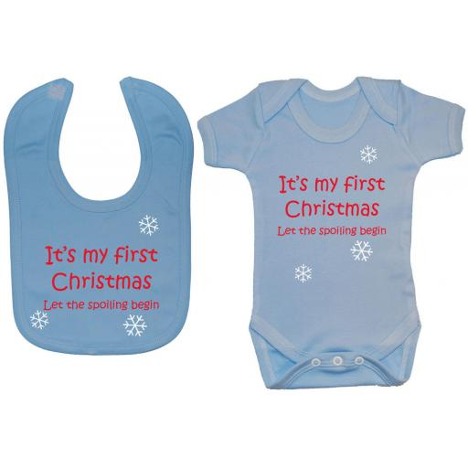 My First Christmas Baby Grow, Bodysuit & Feeding Bib