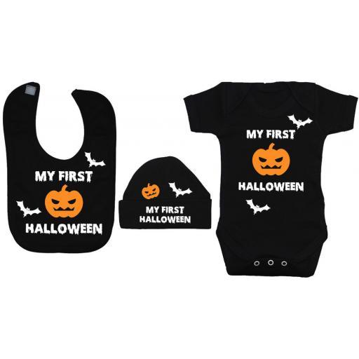My First Halloween Baby Grow, Bodysuit & Bib & Hat