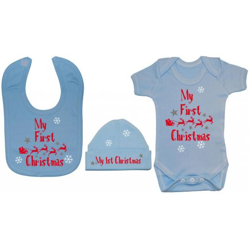 My First Christmas with Sleigh Baby Grow, Bodysuit, Bib & Hat