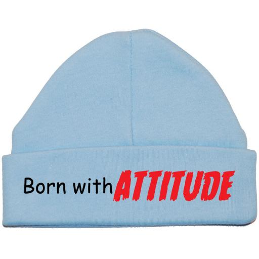Born With Attitude Baby Beanie Hat Newborn-12m