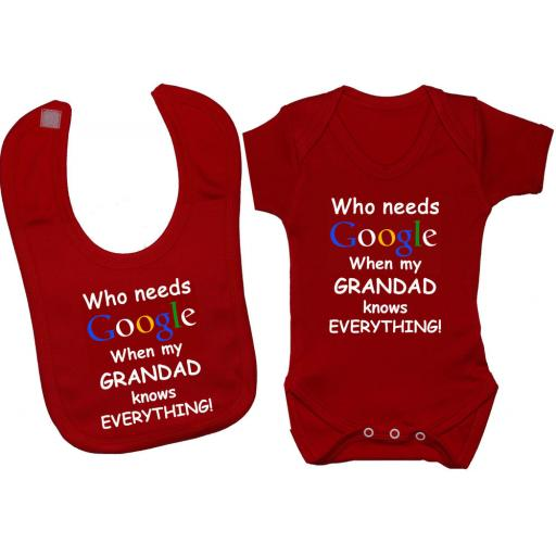 Who Needs Google When My Grandad...Baby Bodysuit & Bib