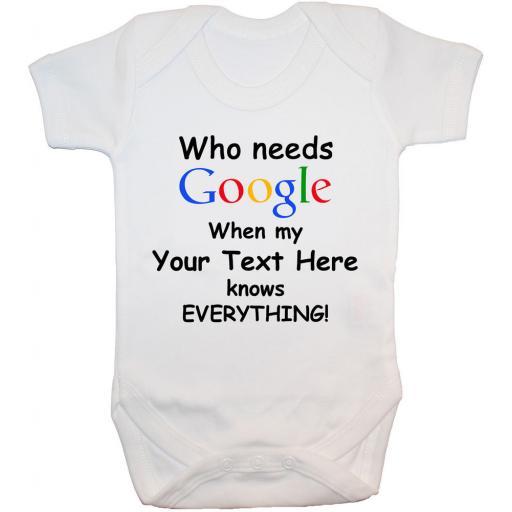 Personalised Who Needs Google Baby Grow, Bodysuit