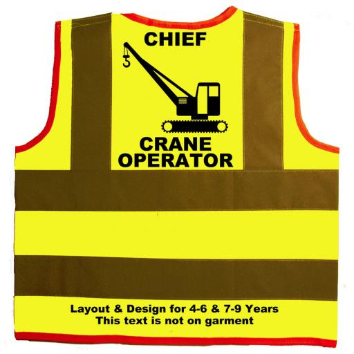 Chief Crane Operator Hi Visibility Children's Kids Safety Jacket