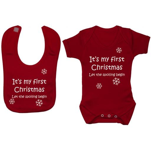 My First Christmas Let the Spoiling Begin Baby Grow, Bodysuit & Feeding Bib