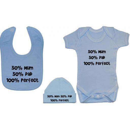 50% Mum 50% Dad 100% Perfect Baby Bodysuit Feeding Bib & Hat