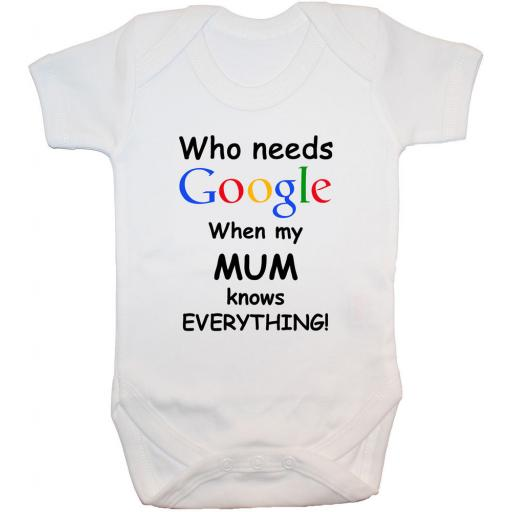 Who Needs Google When My Mum...Baby Grow, Bodysuit
