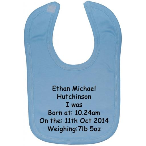Personalised Name, Time, Date, Weight Baby Feeding Bib