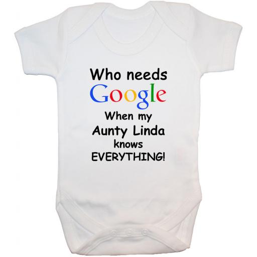 Google Aunty Personalised With Name Baby Grow, Bodysuit
